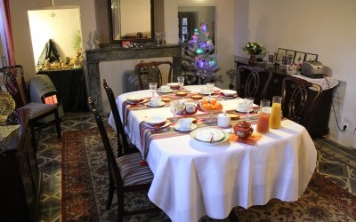 Petit déjeuner à la salle à manger en décembre